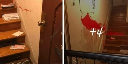 Paint in stairwell from fascists social media
