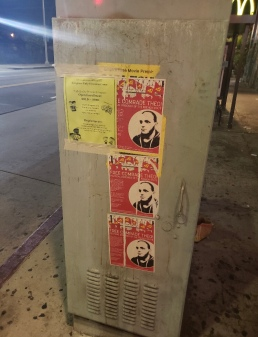 Flyers calling for solidarity with Comrade Théo