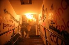 Protester sets fire inside Metro station.