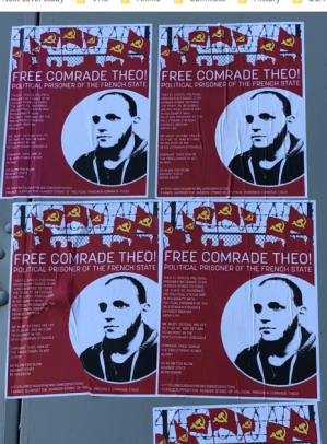Free Comrade Theo Flyers Pasted on Wall in Austin