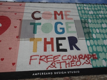 """Free Comrade Théo"" seen in Kansas City."