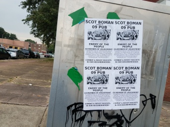 Antifascist flyers targeting former Volksfront member Scot Boman