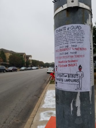 A flyer addressing residents of The Quad Apartments