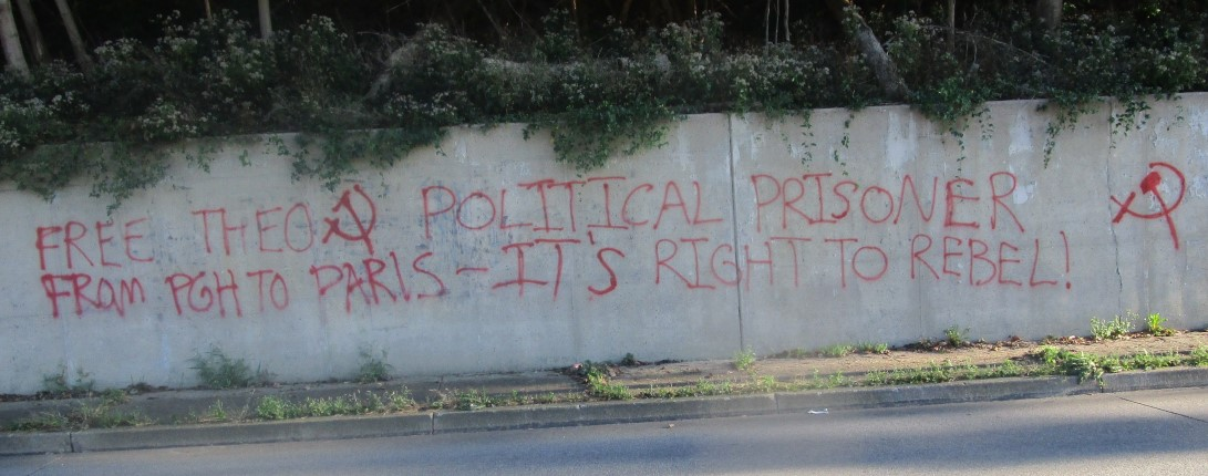 """PITTSBURGH: """"Free Théo"""" Graffiti in Solidarity with Political Prisoner of French State"""