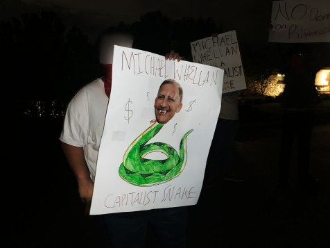 Michael Whellan's head on the body of a Capitalist Snake