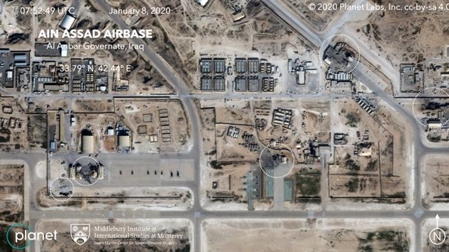 Aerial imagery of the US base hit by a Iranian missle