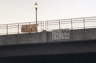 """End US Imperialism,"" ""No War in Iran"""