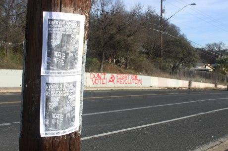 Volantes del Boicot Electoral y Grafiti encontrado por 12th St.